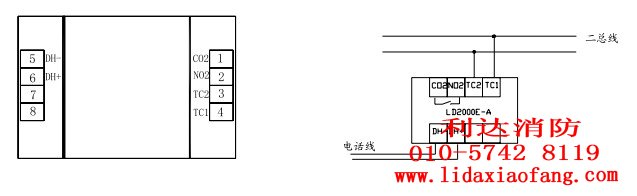 消防器材ld2000e手动报警按钮接线端子及接线图